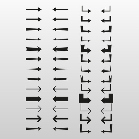different directions: Set of simple arrows with different directions, vector illustration