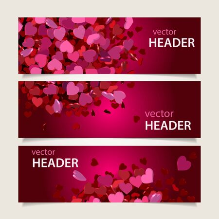 header image: Set of three abstract Valentines Day headers, web banners. Vector illustration