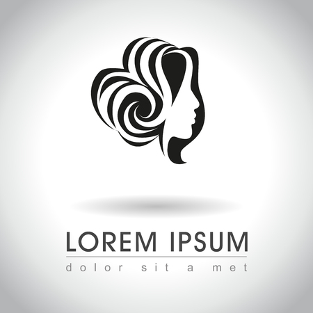 messy: Beautiful woman face with messy bun logo sample, vector illustration