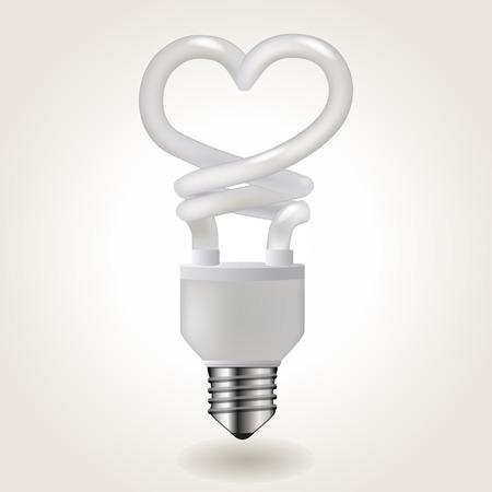 energy symbol: Energy saving light bulb in a heart shape, illustration