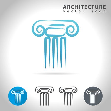 capitol: Architecture icon set, collection of ancient column icons, illustration Illustration