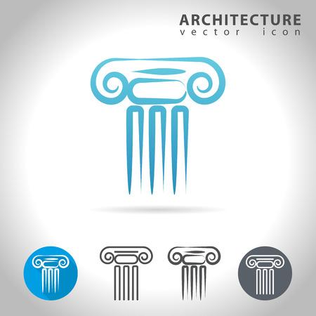 theatre symbol: Architecture icon set, collection of ancient column icons, illustration Illustration