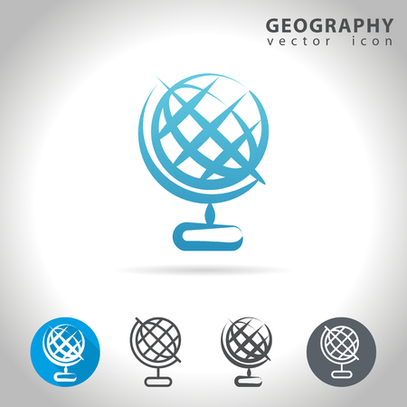 geography: Geography icon set, collection of globe icons, illustration Illustration