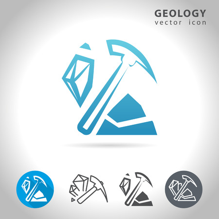 Geology icon set, collection of mineral icons, illustration