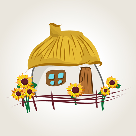 Ukrainian cartoon house with lath fence and sunflowers, illustration