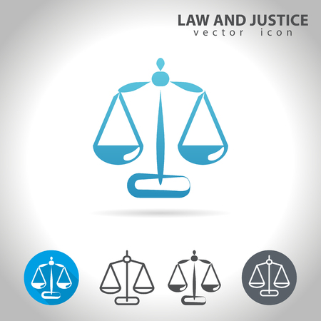 justice scale: Law and justice icon set, collection of scale icons, illustration Illustration