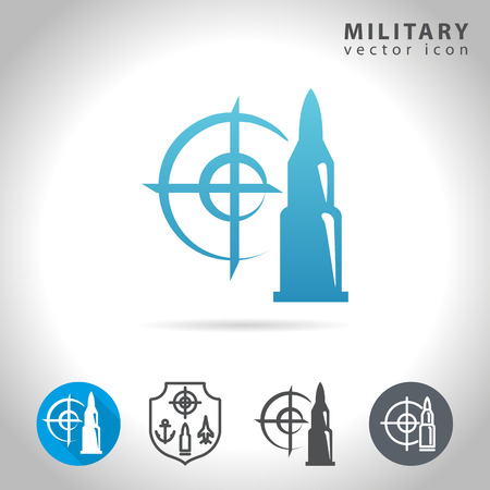 atomic symbol: Military icon set, collection of bullet, target and army symbol Illustration