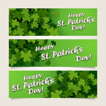 clover banners: Set of green headers with clover leaves and banners for St. Patricks Day Illustration