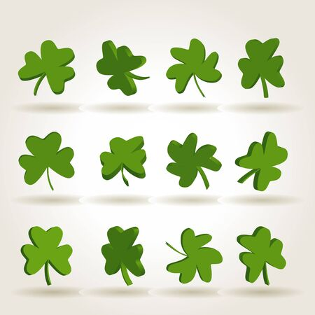 saint paddys day: Set of green separated shamrock leaves, symbol of St. Patricks Day
