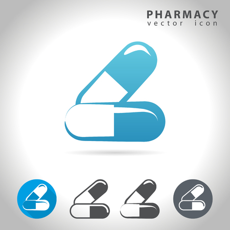 pharmacy pills: Pharmacy icon set, collection of pills icons, illustration