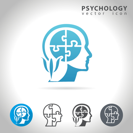 mind: Psychology icon set, collection of puzzle head mind icons, illustration