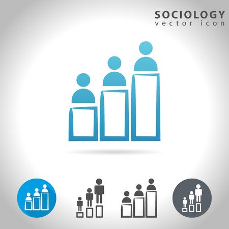 Sociología icono conjunto, colección de tablas de la figura humana, ilustración