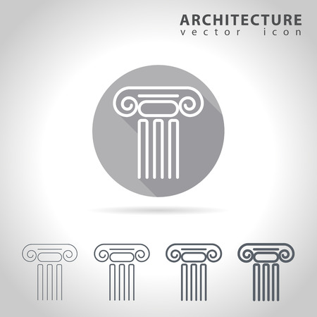 capitol: Architecture outline icon set, collection of ancient column icons, vector illustration Illustration