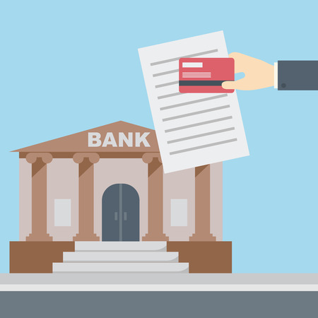 fees: Hand holding credit card and document in front of bank building, finance institution with road on flat style background concept. Vector illustration design Illustration