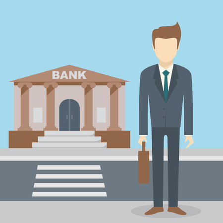 El hombre de negocios de pie en el edificio del banco, institución financiera con la carretera en estilo plano de fondo el concepto. Ilustración del vector de diseño