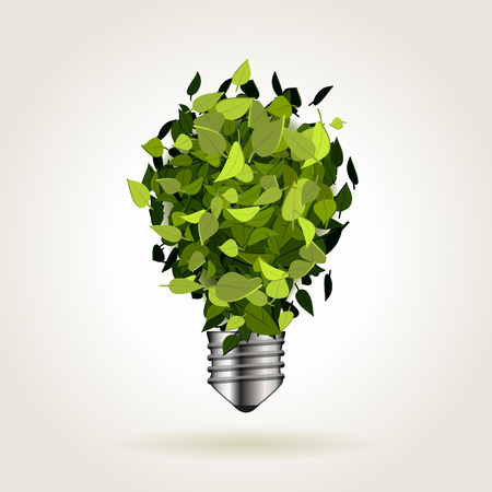 sustainability: Light bulb icon made of green leaves, abstract vector illustration