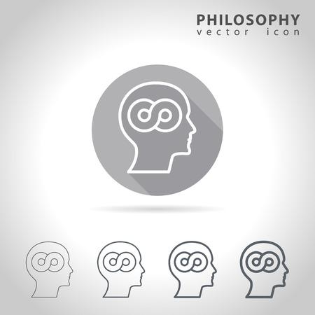 Filosofie overzicht icon set, de verzameling van de filosofie iconen, vector illustratie Stock Illustratie