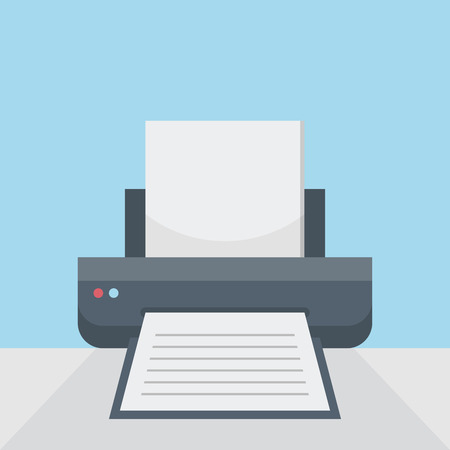 Printer on table, print option on flat style background concept. Vector illustration design Vektoros illusztráció