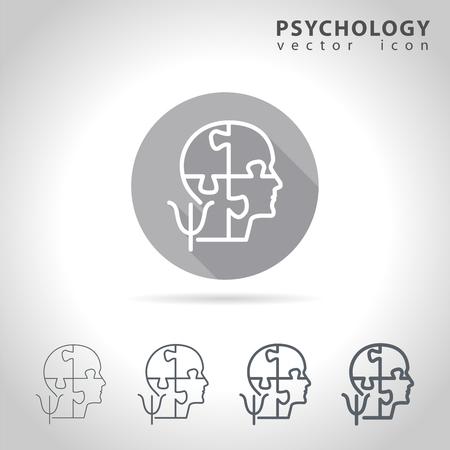 Psicología icono conjunto contorno, colección de iconos de la cabeza del rompecabezas de la mente, ilustración vectorial