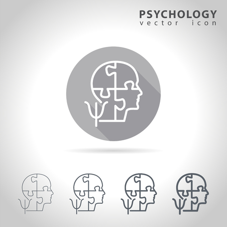 psychologist: Psychology outline icon set, collection of puzzle head mind icons, vector illustration