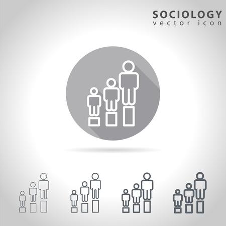sociology: Sociología icono conjunto contorno, colección de tablas de la figura humana, ilustración vectorial
