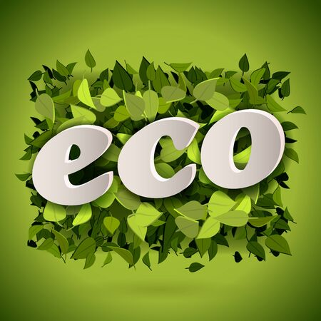 abstract letters: Abstract bright green leaves background with eco letters, vector illustration Illustration
