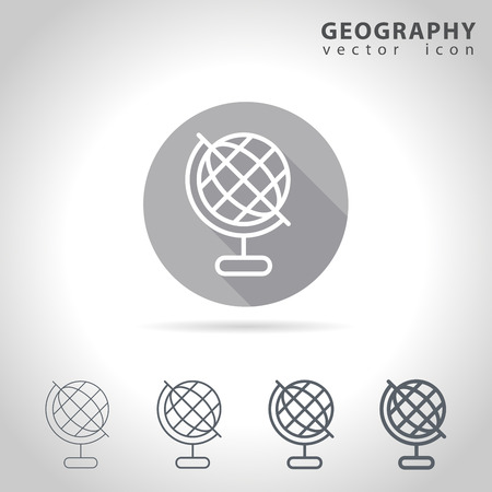 geography: Geography outline icon set, collection of globe icons, vector illustration