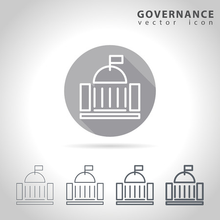 capitol: Governance outline icon set, collection of government buildings, vector illustration Illustration