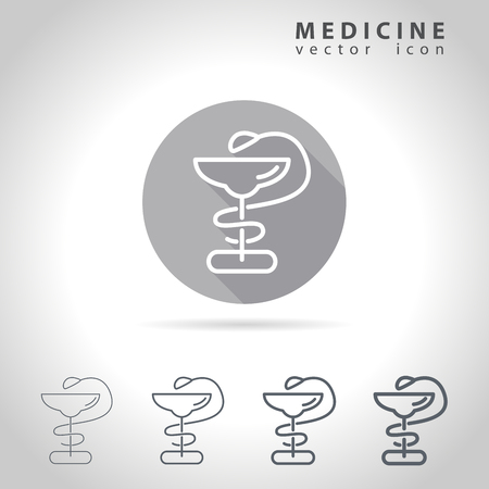 medicine logo: Medicine outline icon set, collection of medical snakes and cups icons, vector illustration