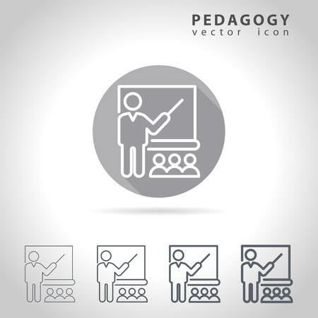 pedagogy: Pedagogy outline icon set, collection of education icons, vector illustration Illustration