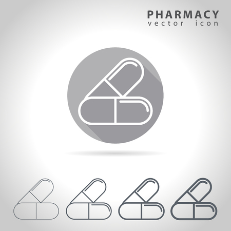 pharmacy pills: Pharmacy outline icon set, collection of pills icons, vector illustration