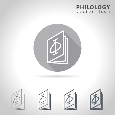 linguistics: Philology outline icon set, collection of book icons, vector illustration