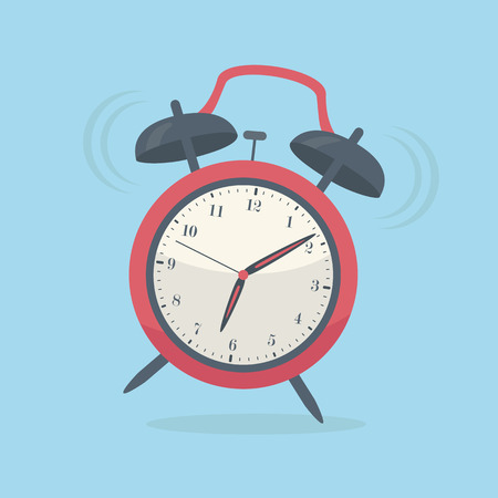 old style retro: Retro old style red alarm clock, vector illustration