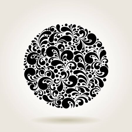 black circle: Circle silhouette decoration made of swirls shapes, vector illustration