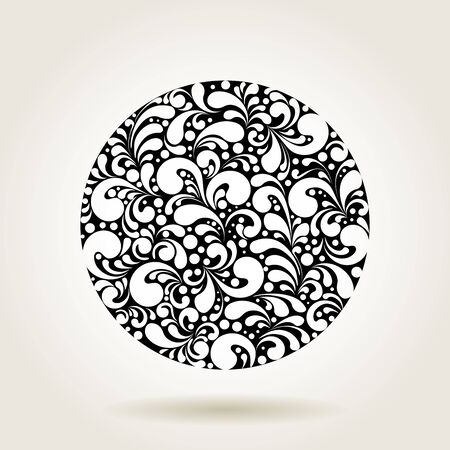 circle icon: Circle silhouette decoration made of swirls shapes, vector illustration