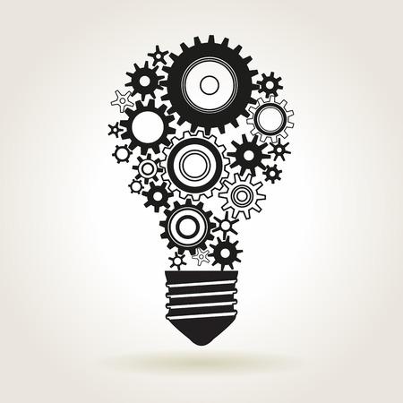 idea bulb: Light bulb shape with cog wheels, idea or technical solution symbol, vector illustration