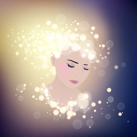 close up face woman: Girl stylized profile design with bokeh lights, vector illustration Illustration