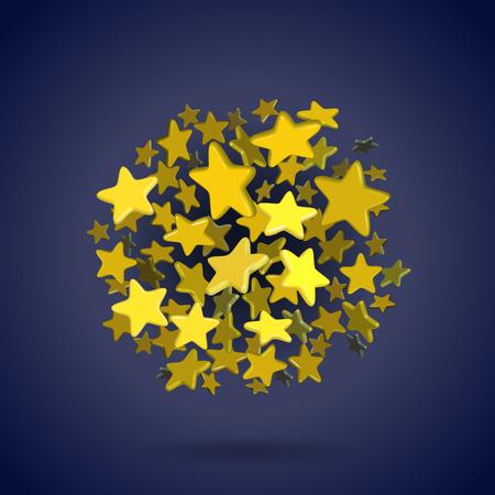 circle shape: Golden stars in circle shape on blue background Illustration