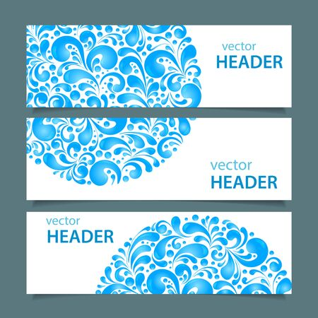 fountain: Set of banners with circle water drops decoration made of swirls shapes, vector illustration