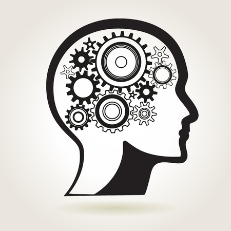 head shape: Human head shape with cog wheels, idea or technical process or mind solution symbol, vector illustration Illustration