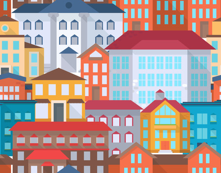 administrative buildings: Seamless city street pattern with office or administrative buildings, outdoor cartoon architecture set, vector illustration