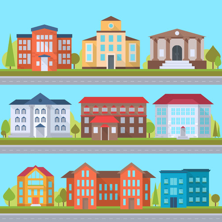 administrative buildings: Set of streets with office or administrative buildings, outdoor cartoon architecture set, vector illustration