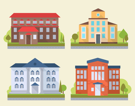 administrative buildings: Set of office or administrative buildings, outdoor cartoon architecture set, vector illustration icons