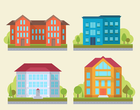 business graphics: Set of office or adiministrative buildings, outdoor cartoon architecture set, vector illustration icons Illustration