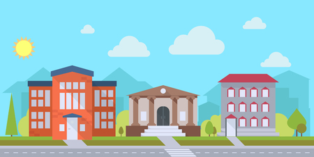 small town life: Street with office or administrative buildings, outdoor cartoon architecture set, vector illustration