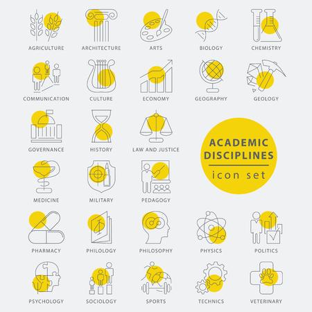 sociología: Moda disciplinas académicas de línea delgada aislado conjunto de iconos, ilustración vectorial