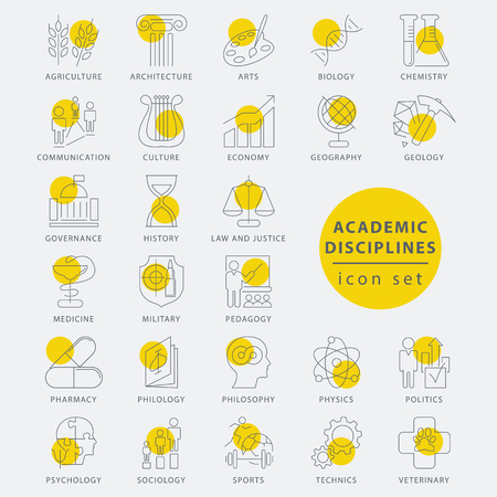 people in line: Trendy thin line academic disciplines isolated icon set, vector illustration Illustration
