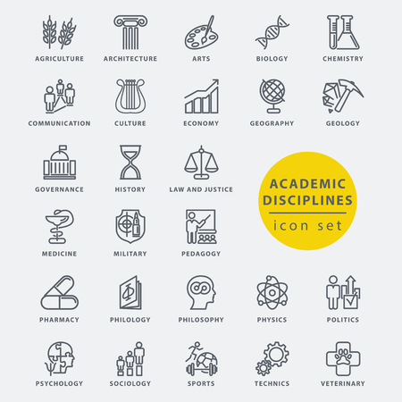 pedagogy: Academic disciplines isolated icon set, vector illustration Illustration