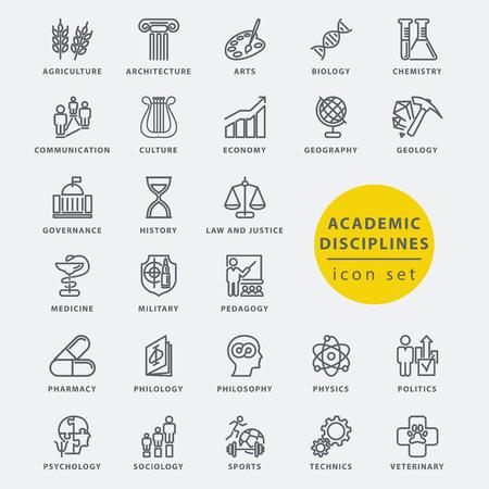 Academic disciplines isolated icon set, vector illustration Stock Illustratie
