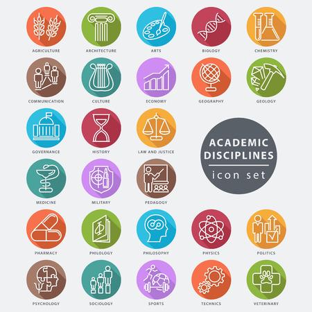 Las disciplinas académicas aislado conjunto de iconos, ilustración vectorial